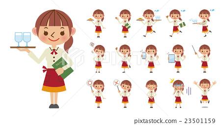 女服務員·姿勢套裝的面部表情(16種) 23501159