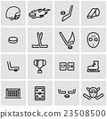 Vector line hockey icon set 23508500