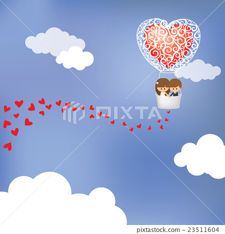 couple flying in hot air balloon for celebration 23511604
