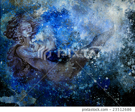 drawing of ocean mermaid plying flute on abstract 23512686