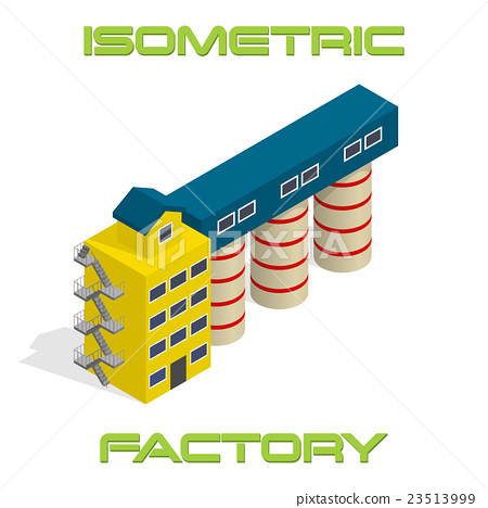 Vector isometric modern factory building icon 23513999