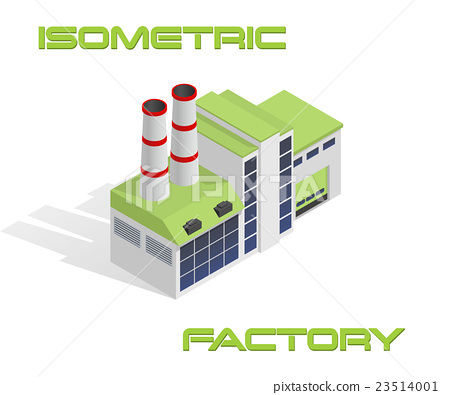 Vector isometric modern factory building icon 23514001