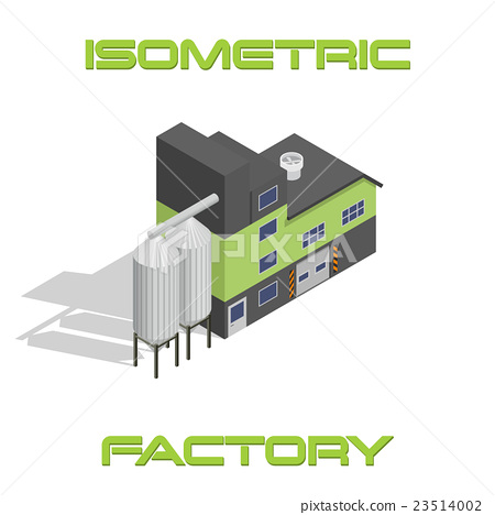 Vector isometric modern factory building icon 23514002