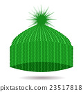 Green Knitted Cap. Winter Hat 23517818