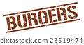 burgers brown grunge square vintage rubber stamp 23519474