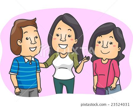 people introduce friend stock illustration 23524031 pixta
