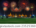 Grand palace with Beautiful Fireworks for celebration at night in Bangkok, Thailand 23525360