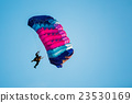 Skydiver On Colorful Parachute In Blue Clear Sky 23530169