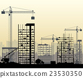 Construction site with buildings and cranes 23530350