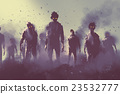 zombie crowd, halloween concept 23532777