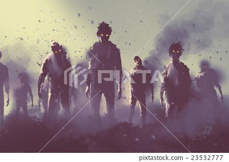 zombie crowd, halloween concept 23532777