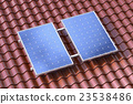 Solar panels on brown roof conceptual illustration 23538486