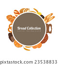 Round label with bread. Food background  23538833