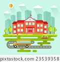 City landscape with school building 23539358