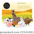 Cute animal family background with farm animals 1 23542461
