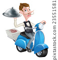 Cartoon Waiter on Scooter Moped Delivering Food 23551581