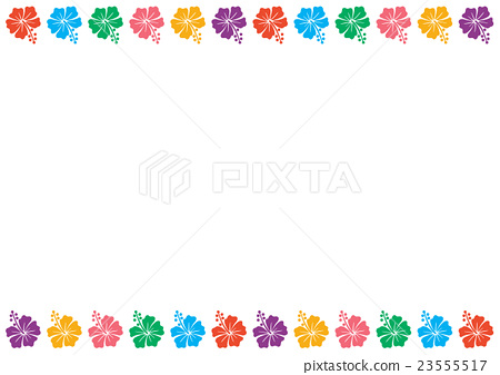 Hibiscus frame (top and bottom colorful) 23555517