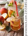 Fresh peach lemonade with ice and mint 23556851