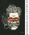 Hipster skull silhouette with mustache, beard 23558132