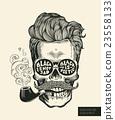 vector, skull, mustache 23558133