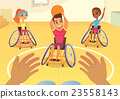Handisport. Boys and girls in wheelchairs playing 23558143