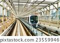 Train at Yurikamome line on the Rainbow bridge in 23559946