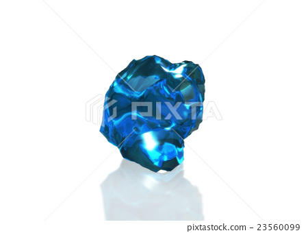 blue crystal stone with reflection on table 23560099