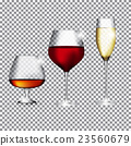 Glass of Champagne, Cognac and Wine on Transparent 23560679