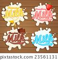 Milk labels splash on wood background. 23561131