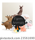 Cute animal family background with farm animals 3 23561690