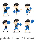 Blue boxing cartoon. 23570646