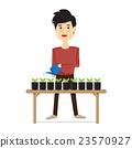 Men watering plants. 23570927