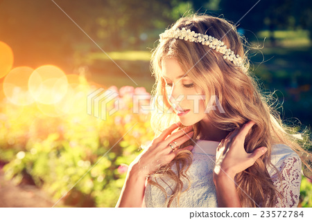 Stock Photo: Charming Bride on Warm Nature Background