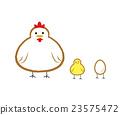 좀 초현실적 인 닭과 병아리의 일러스트 23575472