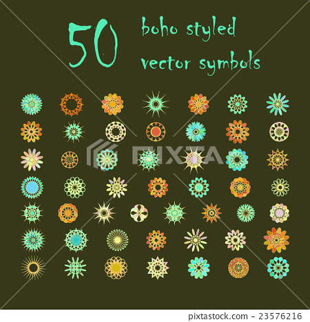 Stock Illustration: Big set of abstract design flowers
