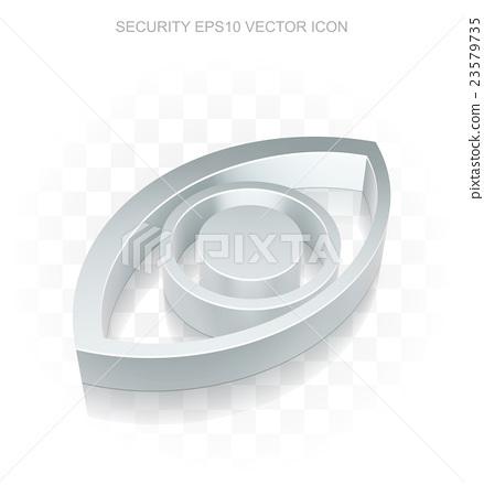 Privacy icon: Flat metallic 3d Eye, transparent 23579735