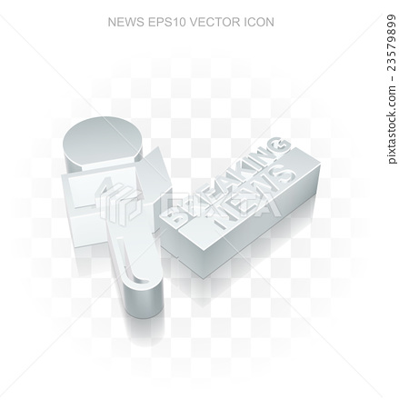 News icon: Flat metallic 3d Breaking News And 23579899