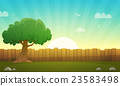 Wooden Fence With Tree 23583498