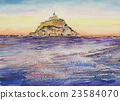 Evening scenery of Mont Saint Michel Watercolor painting 23584070