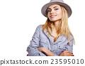 fashion studio portrait of beautiful sensual woman  23595010