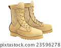 Military boots with shoelace, beige 23596278