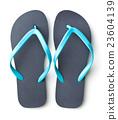 Blue flip flops. 23604139
