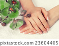 hand, manicure, orchid 23604405