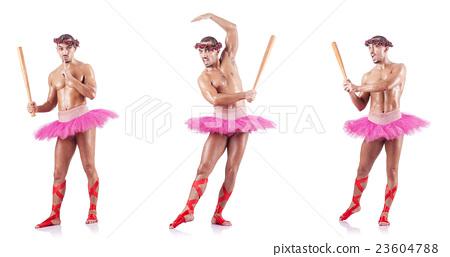 Man wearing ballet tutu isolated on white 23604788