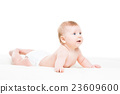 Portrait of a cute smiling infant baby 23609600