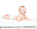 Portrait of a cute smiling infant baby 23609601