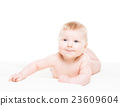 Portrait of a cute smiling infant baby 23609604