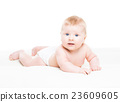 Portrait of a cute smiling infant baby 23609605