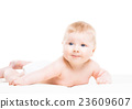 Portrait of a cute smiling infant baby 23609607
