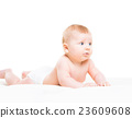 Portrait of a cute smiling infant baby 23609608